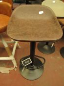 | 1X | COX & COX FAUX LEATHER COUNTER STOOL - BROWN | UNCHECKED & LOOKS IN GOOD CONDITION | RRP £150