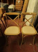 | 1X | TWO WEATHERED OAK CROSS BACK DINING CHAIR | LOOKS UNUSED | RRP £425 |