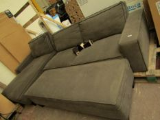 Costco L shaped sofa with ottoman storage in the chaise and a matching long footstool, could do with