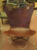 | 1X | BUTTERFLY CHAIR BROWN LEATHER & BLACK METAL | LOOKS IN DECENT CONDITION | RRP CIRCA £199.