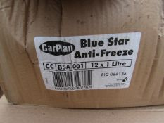 12x Carplan - Blue Star Anti-Freeze & Coolant - 1 Litre Bottles - Unused, Sealed & Boxed.