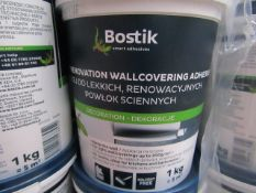 4x Bostik - Light Renovation Wallcovering Adhesive (Solvent Free) (1KG Tub = 5MSquared) - New &
