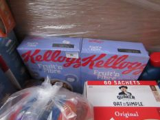 2x 700g Kelloggs Fruit and Fibre BB 06/2020, the other packaging is damaged but the inners are still