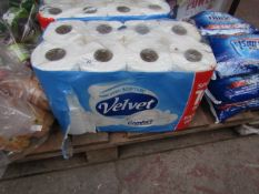 Pack of 16x Velvet confort toilet rolls, the outer packaging is damaged but contents appear to be