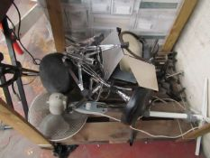 Pallet of approx 20 various items which include Drum stools, Light shutters, Pedestal fan, Gutiar