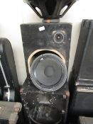 2x Unbranded speakers and housings, one speaker is damaged and both the housings do not have the