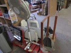 Pallet that contains 8 Heaters, a pedestal fan, 2 sign holders and 3 speaker grates.please read lot