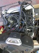 Plastic create full of cables and a Phillips Portable cd/radio, all unchecked.please read lot 0