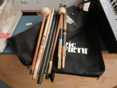 Lot that Consists of 2x Drum stick bags, 2 sets of drum sticks (one from Vic Firth) and 4 other drum