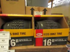 """2x Bell - 16"""" Replacement Tyre (Suitable for Children's Bike's) - Unused & Boxed."""