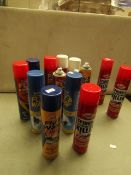 14x Various Assorted Fly & Wasp Spray Killers - Unused.