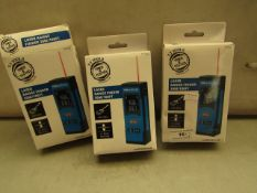 3x TT-Tools - Laser Range Finder 30m / 100Ft - Unchecked & Boxed.