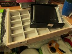 1x Stackers - 25 Section Jewellery Box Blush Pink - Unused & Packaged. 1x BOCA - Black Wallet -