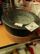 Black Marble Mortar Dish For Pestle & Mortar - (Pestle Not Included).