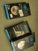 3x BOCA - High Definition Sound EarPhones - Red & Blue Designs - Unused & Boxed.