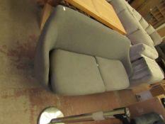   1X   MADE.COM 2 SEATER FABRIC SOFA IN GREY   NO FEET AND HAS NO MAJOR DAMAGE   RRP £449  