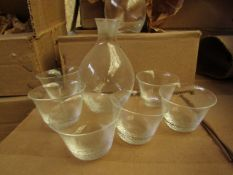 5 x Tornado Glass 7 piece Shot Sets, new and boxed