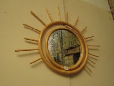 | 1X | MADE.COM FERGIE RATTAN WALL MIRROR 60CM X 74CM NATURAL | UNCHECKED, BOXED | RRP £45