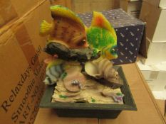4 x Small Fish Themed 24cm Indoor Table Top Water Features, new and boxed