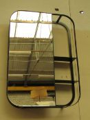 | 1X | MADE.COM STRIA WALL MIRROR WITH SHELVES BLACK METAL FRAME | MIRROR IS OK | RRP £149 |