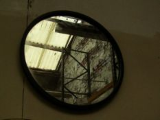 1 X Black Framed Circular Mirror approx 30cm (hanging bracket is bent on the back)