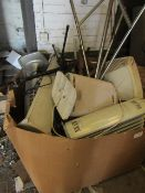 Pallet of approx 15 various items which include Heates, Fans, Music stands, a stool and maybe