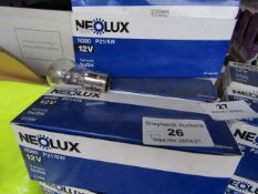 8x Neolux - N380 P21/5W 12V Vehicle Bulbs ( 4x Boxes Containing 10 Bulbs Per Box ) - Unused &