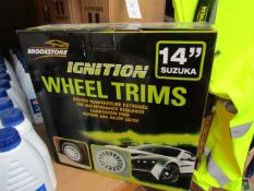 "Brookstone Ignition 14"" wheel trims,. Unchecked and boxed"