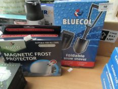 1x Bluecol - Magnetic Frost Protector - Unused & Boxed. 1x Bluecol - Folding Snow Shovel -
