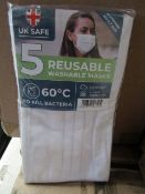 50x Pack's of 5 Reusable Washable Face Masks - New & Packaged.