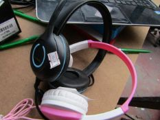 Groove Girls' Headphones, Tested Working for Sound Only & Cyber Acoustics Headphones, Tested Working