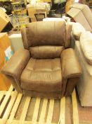 Costco Brown Leather Reclining Massager Armchair With Side USB Port | Used Condition | RRP £-