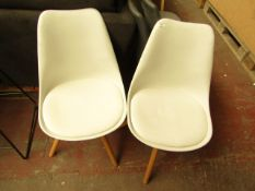 | 1X | MADE.COM SET OF 2 WHITE AND OAK DINING CHAIRS | NEEDS A CLEAN BUT NO MAJOR DAMAGE | RRP CIRCA