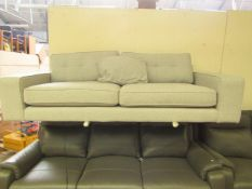 | 1x | MADE.COM TOBIAS 2 SEATER SOFA TEXTURED WEAVE GREY | MISSING LEGS & ONE SCATTER CUSHION |