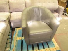 Costco Natuzzi Leather Tubchair Grey | Small Stratch Mark On Right Side, Also Missing Bottom