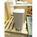 | 1x | MADE.COM KIA ROUNDED SQUARE PEDAL BIN 30L MUSHROOM | NO DAMAGE & BOXED | RRP £39 |
