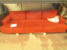 Costco 3 Seater Velvet Sofa Sun Burnt Orange - Some Dirty Marks Present.