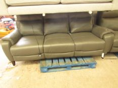 Nicolette 3 Seater Leather Recliner Sofa With 2 USB Ports - Some Scuffs on Backside.