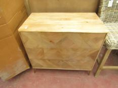 | 1x | SWOON.COM NORREBRO THREE-DRAWER CHEST OF DRAWERS NATURAL OAK STAIN & BRASS LEGS | SOME