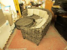 Costco Outdoor Half-Moon Shaped Rattan Sofa Garden Set With Large Circular Table | Missing Seating