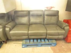 Nicolette 3 Seater Leather Recliner Sofa With 2 USB Ports - No Visible Damage (No Guarantee).