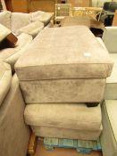 2x Costco Thomasville Grey Velvet Ottoman Pouffee | Missing Legs, Damage to Corner Fabric & Dirty