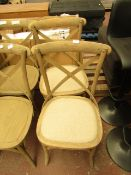 | 2X | COX & COX WEATHERED OAK CROSS BACK DINING CHAIR | LOOKS UNUSED | RRP £425 |
