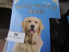 1x Box Containing Approx 125 Poop Scoop Disposable Bags - Boxed.