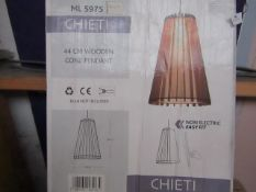 Chieti - 44cm Wooden Cone Pendent - Unchecked & Boxed.
