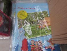 2x Packs of 12x In the Night Garden Make-A-Scene sticker books, new.