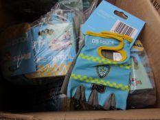 20x Mitts - Police Patrol Fingerless Gloves (Children's Size Medium) - Unused.