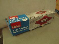Hilka - 1.5 Tonne Scissor Jack - Unchecked & Boxed.