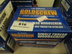 2x The Original Gold Screw - Single Thread Woodscrew 5.0 x 30mm (200 Per Box) - Unused & Boxed.
