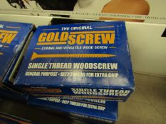 3x The Original Gold Screw - Single Thread Woodscrew 3.5 x 40mm (200 Per Box) - Unused & Boxed.